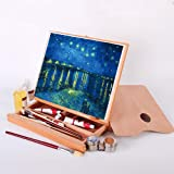 Portable Adjustable Tabletop Easel,Beech Wood Art Desktop Easel Oil Painting Easel for Painting, Drawing, Sketching with Stor