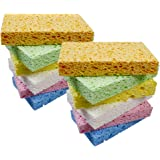 Cleaning Scrub Sponge, Heavy Duty Compressed Cellulose Sponges, Designed for Tough Stain Without Scratching.Biodegradable Nat