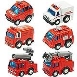 CORPER TOYS ミニカー 消防車 緊急車両 6台セット 合金製 プルバックカー モデルカー 消防コレクション 子ども おもちゃ