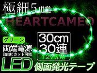 高輝度側面発光♪両側配線LEDテープ30cm12V/ 緑/防水/カット可/黒ベース/左右2本セット