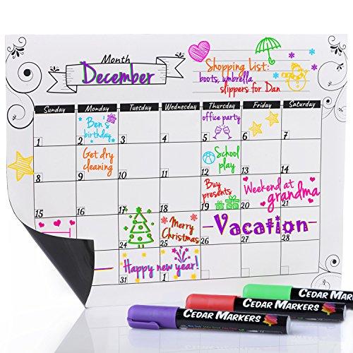 """Cedarマーカー16"""" x12""""ホワイト磁気冷蔵庫Calendar with 3Freeチョークマーカー。Dry Eraseホワイトボード月次予定表。"""