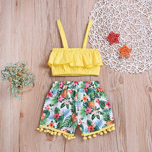 Borlai Toddler Kids Baby Girl Outfit Clothing Ruffled Tank Top + Floral Ball Tassels Shorts Pants 2pcs Set for Infant Girls - - 2T / 3T
