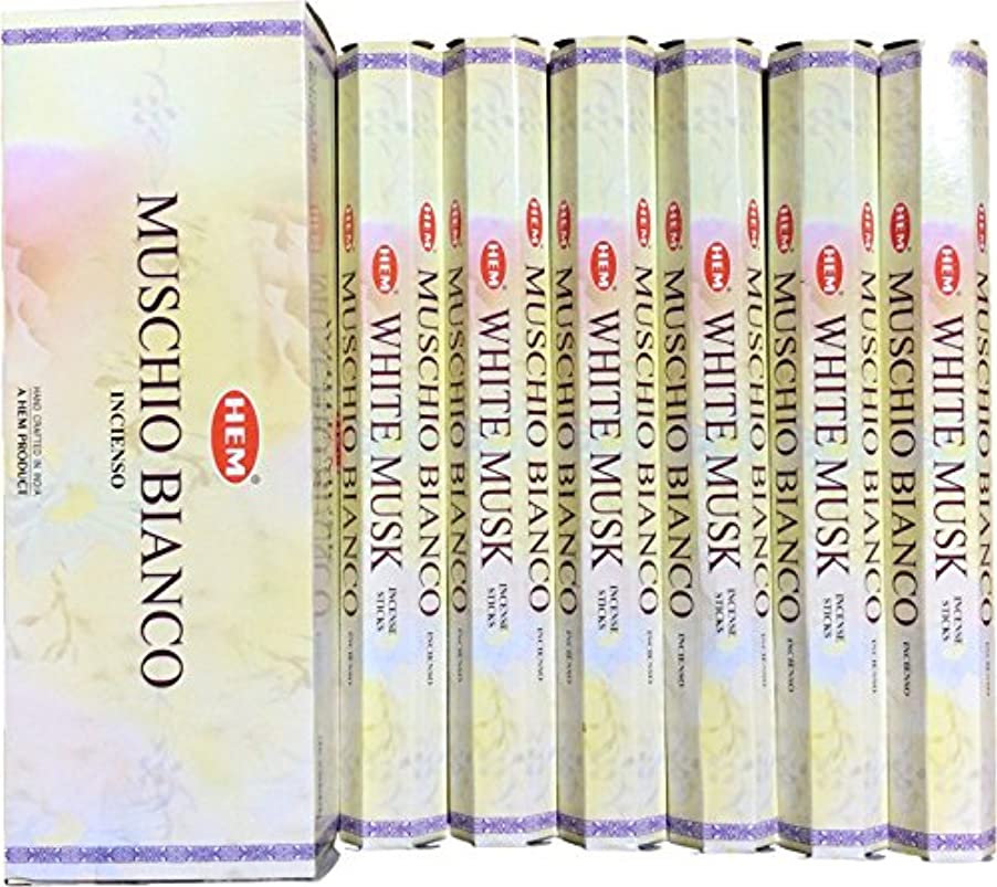 絶望処理する入るHEM ヘム ホワイトムスク WHITEMUSK ステック お香 6本 セット
