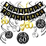 Konsait 60th Birthday Decorations Kit Cheers to 60 Years Banner Swallowtail Bunting Garland Sparkling Celebration 60 Hanging Swirls,Perfect 60 Years Old Party Supplies 60th Anniversary Decorations