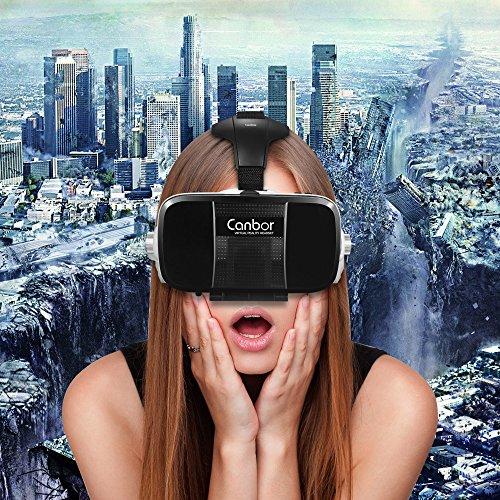 Canbor VR ゴーグル ヘッドホン実装 マイクロフォン付き 3d vr ヘッドセット スマホ用 3dメガネ