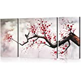 Hand-painted Modern Chinese Style Cherry Blossom The Plum Blossom Tree Wall Art Picture 3pcs Oil Paintings on Canvas Handmade