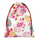 手作り 和柄 巾着袋 白×花柄 和小物 和雑貨 和風小物