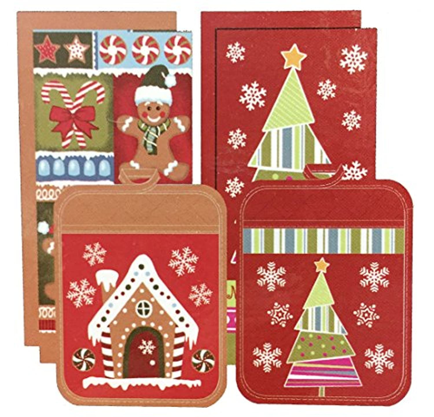 Town & Country Living クリスマス キッチン6点セット A タイプ (キッチンタオル×4 鍋敷き×2) Christmas 6Pack Kitchen Towel & Pot Holder Set