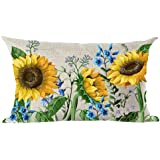 ramirar Hand Painted Ink Oil Painting Watercolor Yellow Sunflowers Blue Flowers Decorative Lumbar Throw Pillow Cover Case Cus
