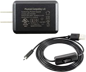 Raspberry Pi3 Model B B+ 対応 電源セット(5V 3.0A) セパレート型-フル負荷検証済/ラズベリーパイ3/電源アダプター/PSE認証/5V 3A/電源スイッチ付き/ケーブル長110cm