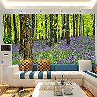 Weaeo 3D壁の壁画の壁紙自然の風景紫の花や森林大Hd壁の寝室のテレビの背景壁の接触用紙-200X140Cm