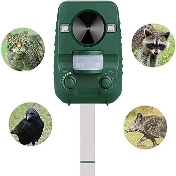 AngLink 猫よけ 超音波 動物撃退器 ガーデンバリア ソーラーとUSB充電 IP44防水 強い閃光 簡単に使える 被害から解放