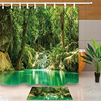 FidgetGear Nature Lake with Mountain Forest View Polyester Fabric Shower Curtain Set 71inch Shower Curtain +Mat(square)