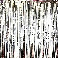 Eliteguard 1パック ホイルカーテンメタリックフォイルフリンジカーテンパーティーデコレーション用ドアウィンドウカーテン (Silver)