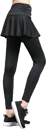 OwlFeather レギンス スカート付 フィットネスウェア ヨガパンツ ホットヨガ ロングパンツ