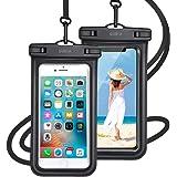【最新版 & 指紋認証/Face ID認証対応】 防水ケース スマホ用 ( 2枚セット ) IPX8認定 完全保護 防水携帯ケース 完全防水 タッチ可 顔認証 気密性抜群 iPhone11/iPhoneXR/X/8/8plus/Android 6.5