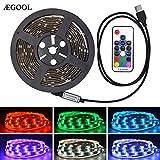 AEGOOL USB式LEDテープ RGB SMD5050 IFTTT Google Home対応 防水 切断可能 照明/装飾用 車内/室内/部屋/玄関/階段/廊下/テレビバック/キッチン (RFリモコン操作, 1M)