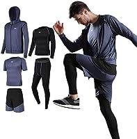 (Seeya) Seeya 压缩服 套装 男士 长袖 短袖 冬 上下 5件套 6种颜色 运动服 训练 跑步 吸汗 速干