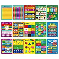 15 Laminated Educational Posters,Alphabet,Shapes,Colors,Numbers 1-100,Multiplication Table,Days of The Week,Months of The Year,Money,Emotions,Human Body,Time,Opposites,Seasons,Weather,Animals [並行輸入品]