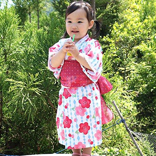 浴衣 子供 セット キッズ ベビー ドレス サンドレス セパレート 花柄 帯セット Pinky Flash ピンク 95cm 3357090607PI95