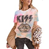 CCBSTS Womens Short Sleeve Leopard Kiss Print T Shirt Plus Size Round Neck Cute Graphic Casual Top Tees