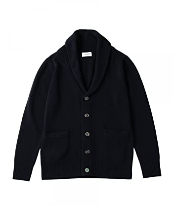 Middle Gauge Wool Shawl Collar Cardigan 1113-199-3452: Navy