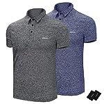 ポロシャツ メンズ 半袖 UVカット通気性 速乾 運動6.3オンス (XS, セット(濃い灰色+蓝宝石色))
