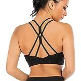 Snailify Women's Sports Bra High Impact Crisscross Racerback Wireless Halter - Strappy Padded Workout Yoga Gym Bras