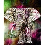5D Diamond Painting Kits, DIY Rhinestone Embroidery Cross Stitch Arts Craft for Home Wall Decor Gold Elephant 12x16inch