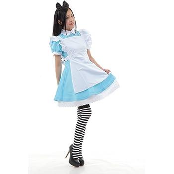 (Boa Sorte)ふしぎの国のアリス コスプレ メイド セット ボーダー靴下パニエ付♪ 豪華5点セット えらべる3サイズ (L)