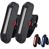 2 Pack Rear Bike Tail Light, Ultra Bright USB Rechargeable Bicycle Taillights, Red/Blue High Intensity Led Accessories Fits O