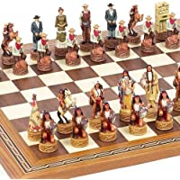 American West Chessmen & Fulton Street Chess Board From Spain. by