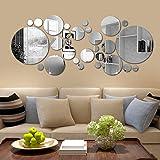 Mirror Wall Sticker 26 pcs DIY Reflective Removable Adhesive Acrylic Wall Sticker Decal Circle DIY Wall Stickers Wall Decorat