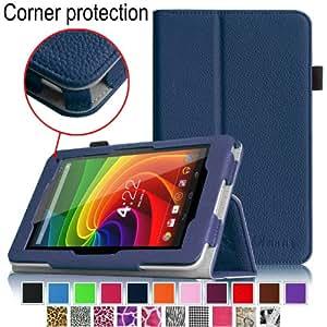 Fintie 東芝TOSHIBA Tablet AT7-B618 / AT7-B619 専用保護ケース 薄型&軽量 スタンドタイプ タッチペンホルダー付き、コーナー保護型 高級PUレザーケース カバー ( ネイビー)