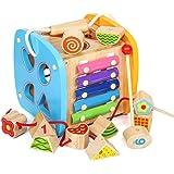 パズルボックス 木製 積み木 多機能 幾何認知 知育玩具 立体パズル 図形認知 動物 ブロック 早期開発 赤ちゃん 子供用 幼児用 男の子 女の子 おもちゃ ドロップインザボックス 出産祝い ギフト 誕生日 プレゼント 遊びながらお勉強