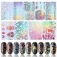 PINPAI ネイルホイル 転写シール ジェルネイル ミラーホイル カラフル 埋め込み ホログラム ネイルアート用品 極薄フィルム デコレーション 全9色セット