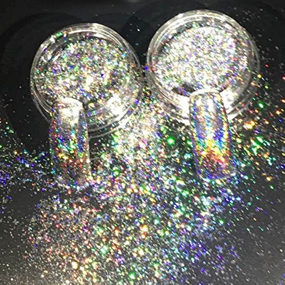 思いやりのある有力者磁石New Nail Glitters Galaxy Holo Flakes 0.2g/box Laser Bling Rainbow Flecks Chrome Magic Effect Irregular Nail Art...