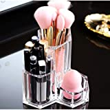 Makeup Organiser Brush Holder 3 Sections Acrylic Cosmetics Storage Case Stand for Makeup, Toothbrushes, Pen, Swab