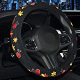 SHIAWASENA Cute Car Steering Wheel Cover with Embroidery Pattern for Women Girls, Short Flannel, Universal 15 inch A#