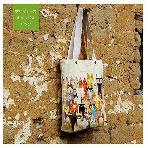 (ベルク)VELUC トートバッグ ねこ キャンバス かわいい イラスト 買い物バッグ 動物柄 サブバッグ 大容量 ポケット付き ~ オリジナルメッセージカードセット ~