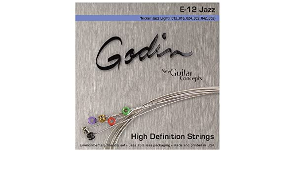 Godin Guitars 33416 Phosphor Bronze Electric Guitar Strings Jazz Light
