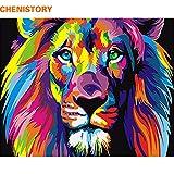 イッピー フレーム しカラフル ライオン動物 抽象画 Diy デジタルペインティング 現代  壁アートピクチャ