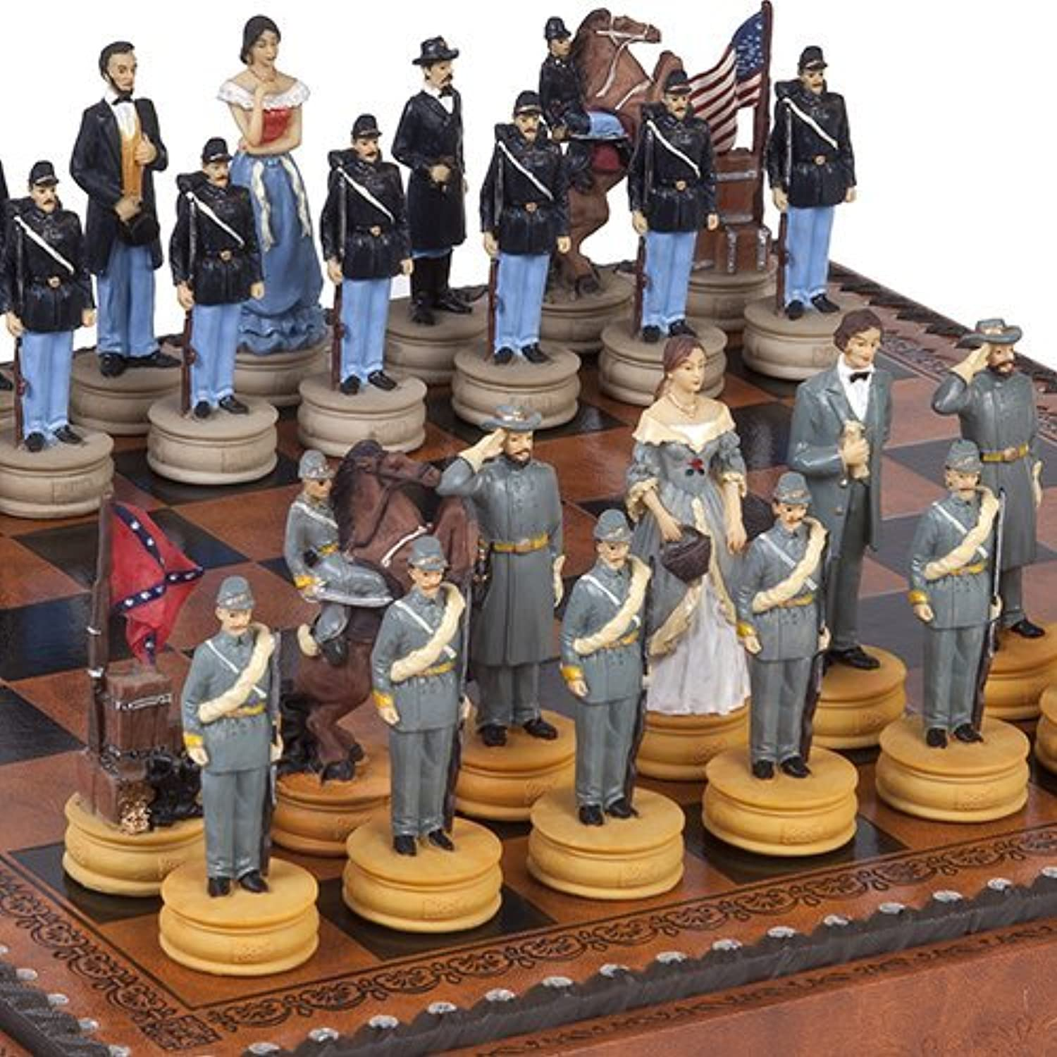Hand Painted American Civil War Chessmen & Marcello Chess Board From Italy by