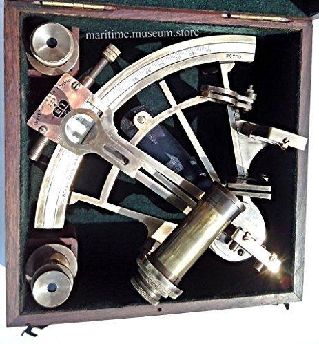 8インチMaritime骨董品Marineキャプテン六分儀–真鍮航海六分儀。c-3083