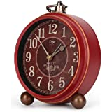 Number-One Classic Retro Alarm Clock, Red Vintage Non-Ticking Table Desk Small Alarm Clock, Battery Operated Silent Quartz Mo