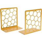 Premium Bookends Geometric Honeycomb Metal Book Ends (Gold, 1 Pair) Book End for Shelves