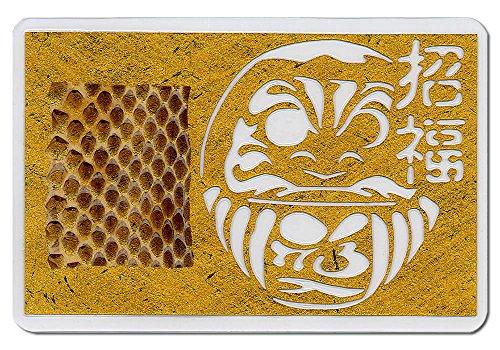 シマヘビの抜け皮《招福・だるま切り絵入り》 カードサイズ リッチ&ゴージャスなゴールド(黄金) バージョン 昔ながらの縁起物 お財布に入れる金運の御守 白蛇観音祈祷済み
