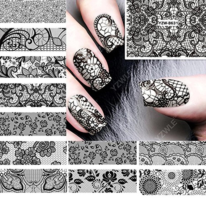 うなずく中断家事Ithern(TM)12PCS /ロット美しさ黒のレースの設計水の転送ネイルアートステッカーデカール爪の装飾のためのマニキュアツールに62536をアクセサリー