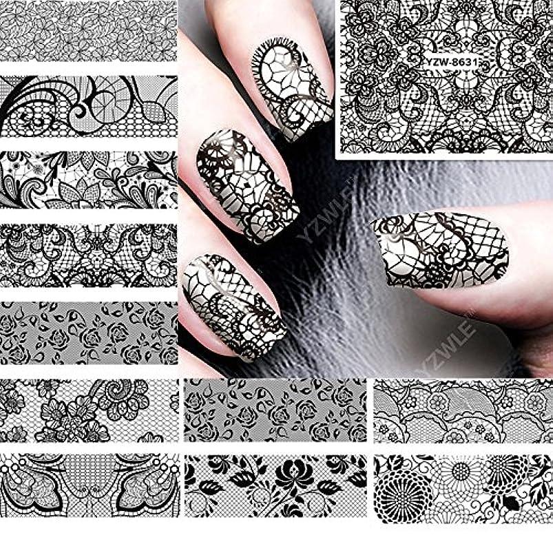 Ithern(TM)12PCS /ロット美しさ黒のレースの設計水の転送ネイルアートステッカーデカール爪の装飾のためのマニキュアツールに62536をアクセサリー