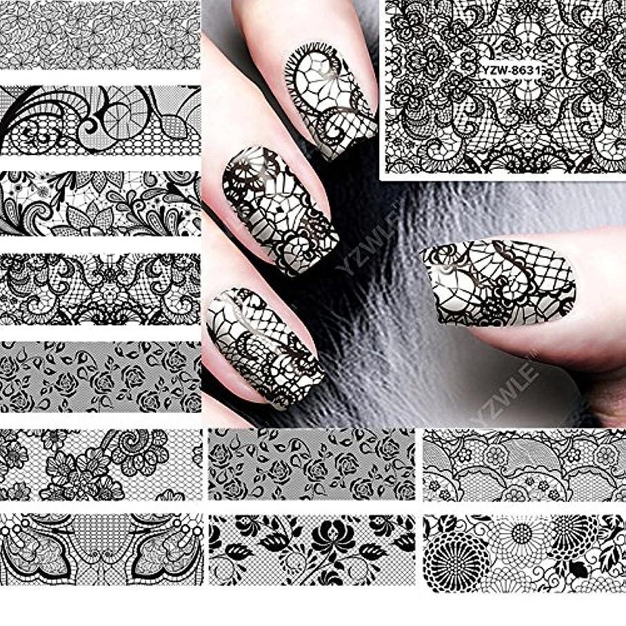 ムスタチオそう敷居Ithern(TM)12PCS /ロット美しさ黒のレースの設計水の転送ネイルアートステッカーデカール爪の装飾のためのマニキュアツールに62536をアクセサリー